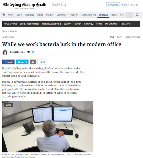 News Story: While we work, bacteria lurk in the modern office