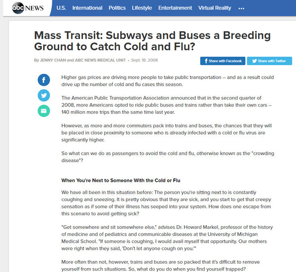 News Story - Mass Transit: Subways and Buses a Breeding Ground to Catch Cold and Flu?