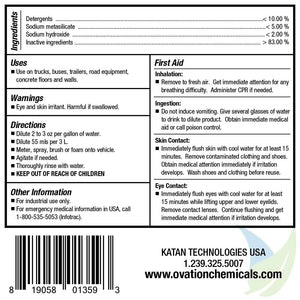 Ovation Heavy Duty EcoPLUS Floor, Wall & Vehicle Cleaner Label Information