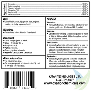 Ovation Heavy Duty Floor and Wall Cleaner Label Information