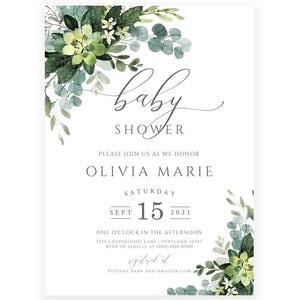 Greenery Baby Shower Invitation | www.foreveryourprints.com