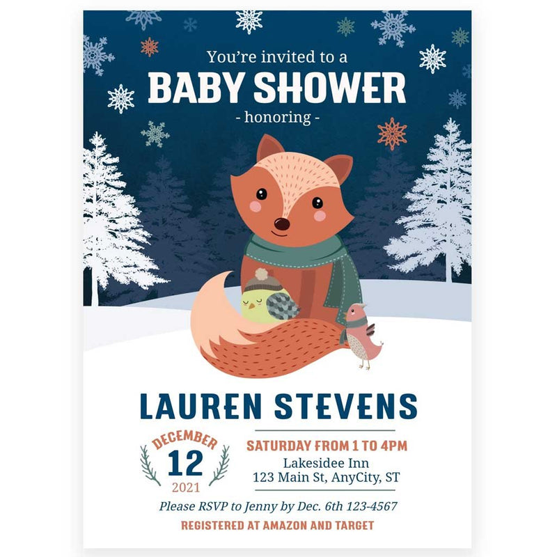 Winter Fox Baby Shower Invitation | www.foreveryourprints.com