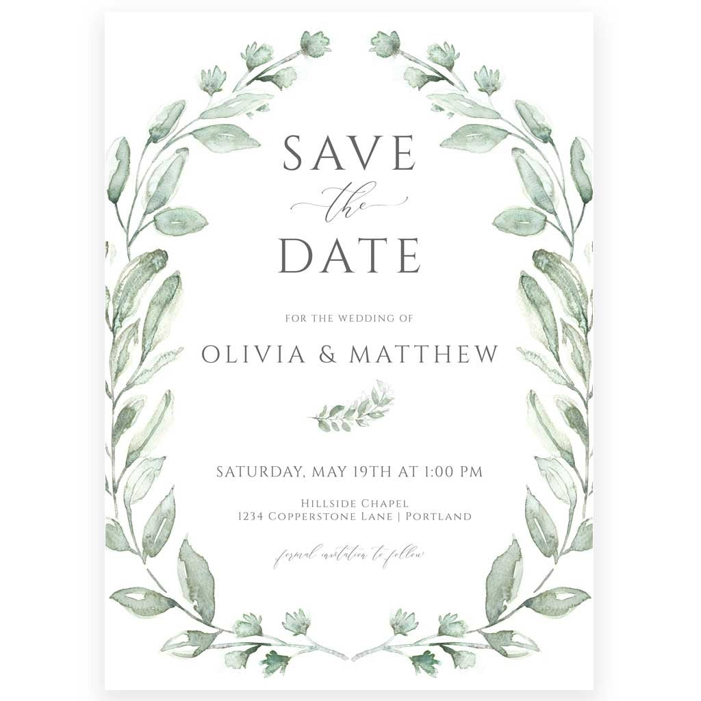 Greenery Save the Date | www.foreveryourprints.com