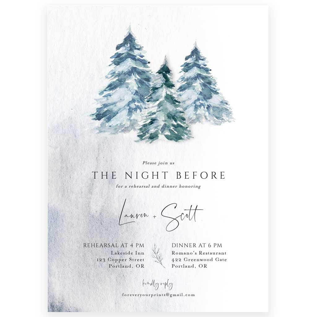 Winter Evergreens Rehearsal Dinner Invitation | www.foreveryourprints.com