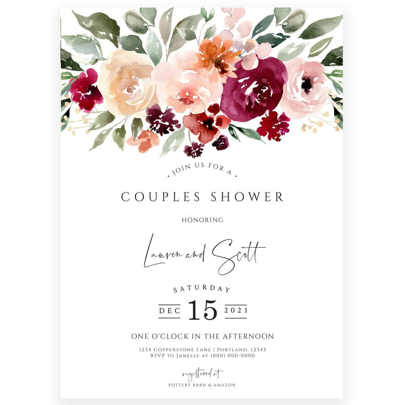 Floral Couples Baby Shower Invitation | www.foreveryourprints.com
