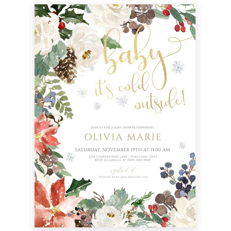 Winter Pine Baby Shower Invitation