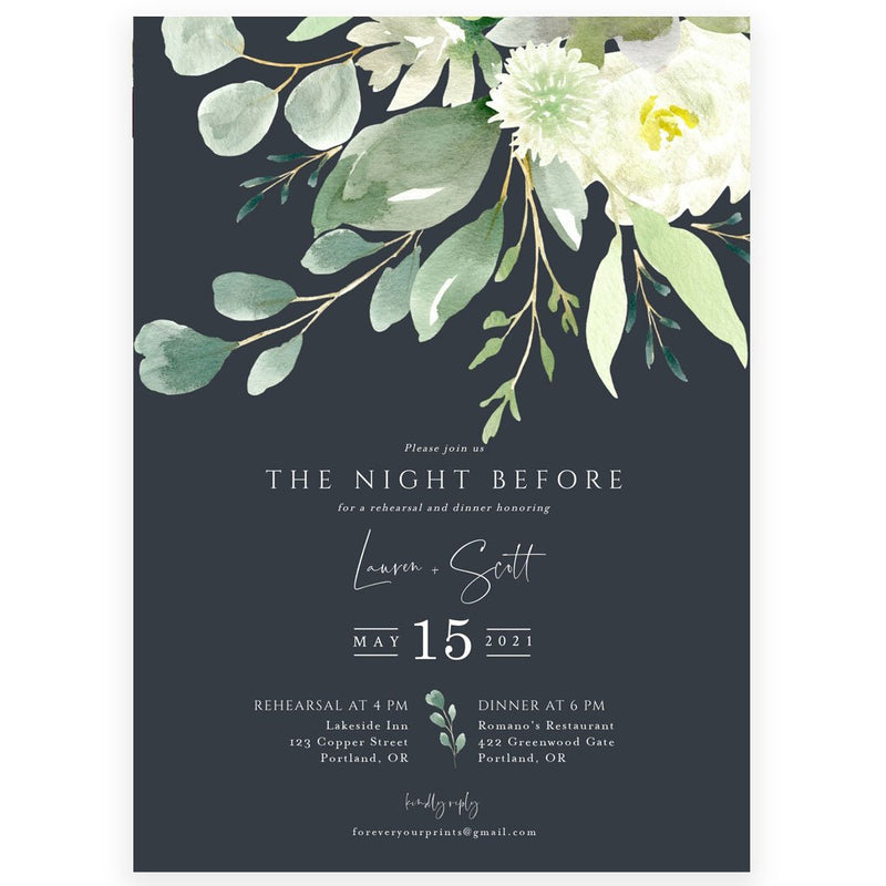 Greenery Rehearsal Dinner Invitation