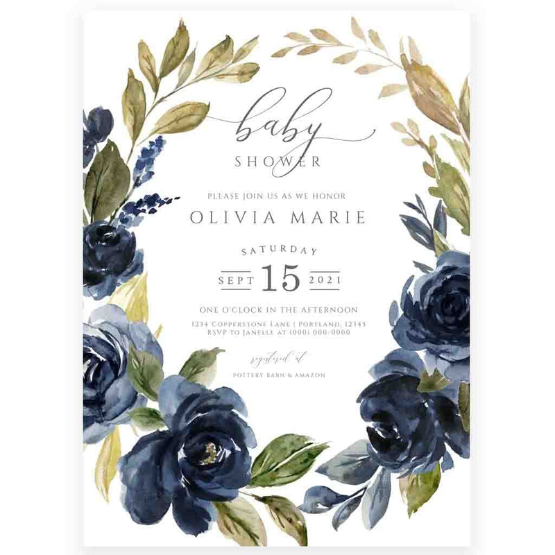 Navy Florals Baby Shower Invitation