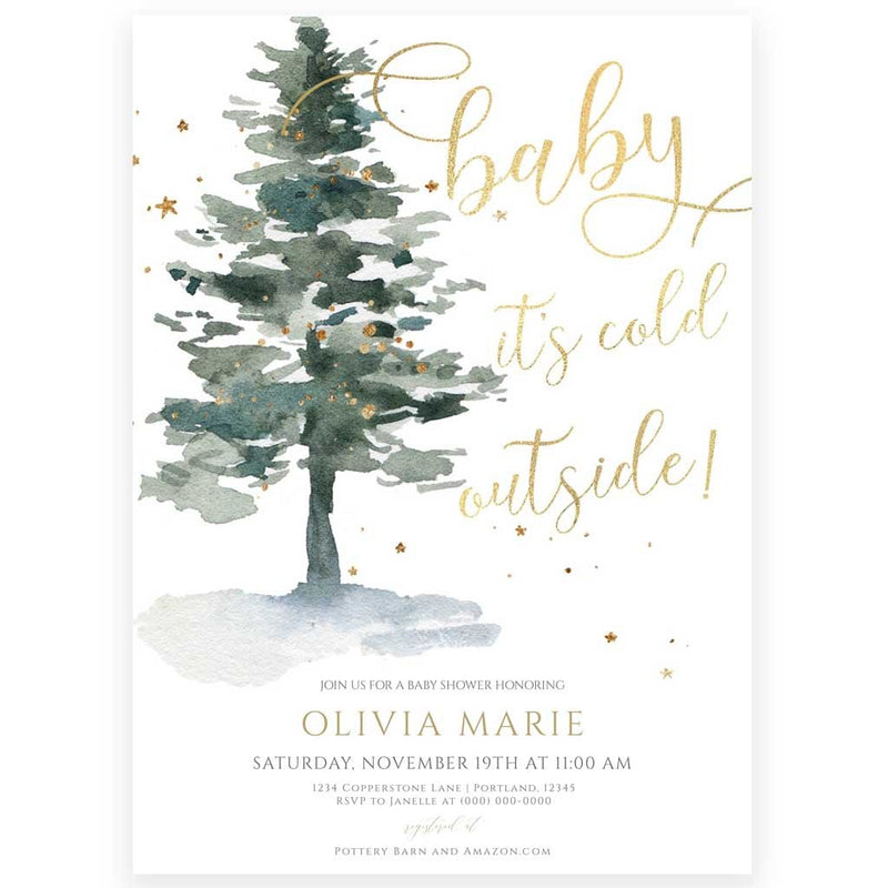 Winter Evergreen Baby Shower Invitation