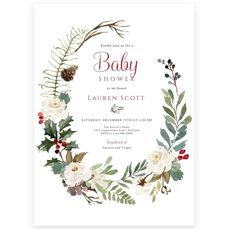 Rustic Winter Baby Shower Invitation | www.foreveryourprints.com