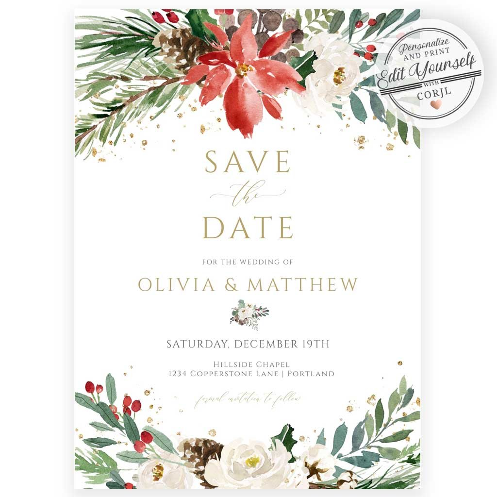 Christmas Save The Date Invitation | www.foreveryourprints.com