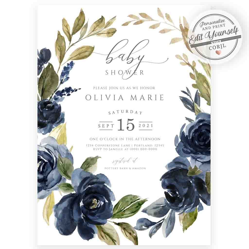 Navy Florals Baby Shower Invitation | www.foreveryourprints.com