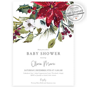 Winter Poinsettia Baby Shower Invitation | www.foreveryourprints.com