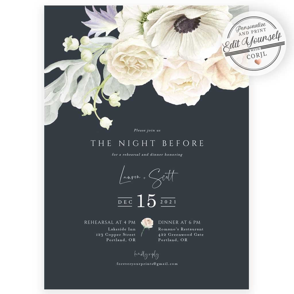 Floral Rehearsal Dinner Invitation | www.foreveryourprints.com