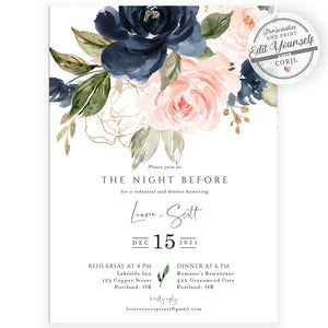 Navy and Blush Rehearsal Dinner Invitation | www.foreveryourprints.com