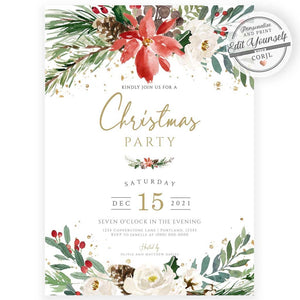 Rustic Floral Christmas Party Invitation | www.foreveryourprints.com