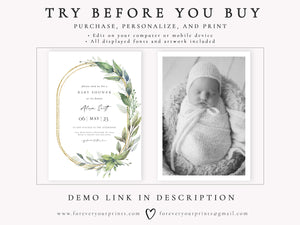 Elegant Greenery Baby Shower Invitation | www.foreveryourprints.com