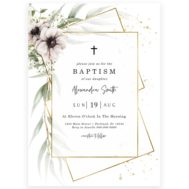 Anemone Florals Baptism Invitation | www.foreveryourprints.com
