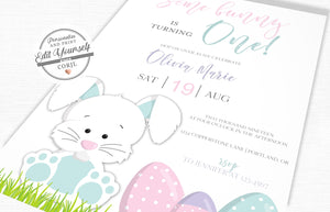 Bunny First Birthday Invitation | www.foreveryourprints.com