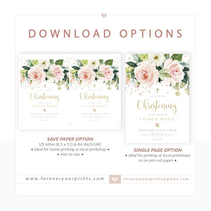 Floral Christening Invitation | www.foreveryourprints.com