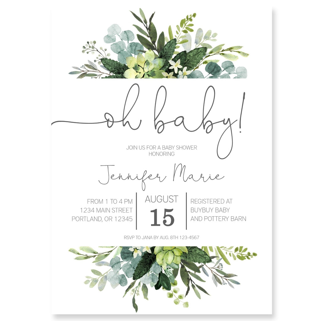 Greenery Baby Shower Invitation   Forever Your Prints