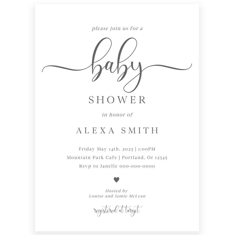 Minimalist Baby Shower Invitation | www.foreveryourprints.com