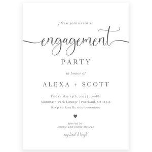 Minimalist Engagement Party Invitation | www.foreveryourprints.com