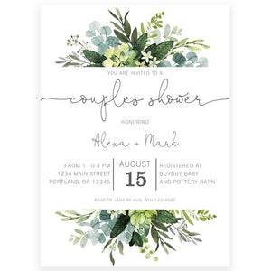 Couples Greenery Shower Invitation | www.foreveryourprints.com