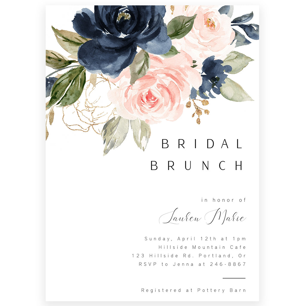 Navy Florals Bridal Brunch Invitation | www.foreveryourprints.com