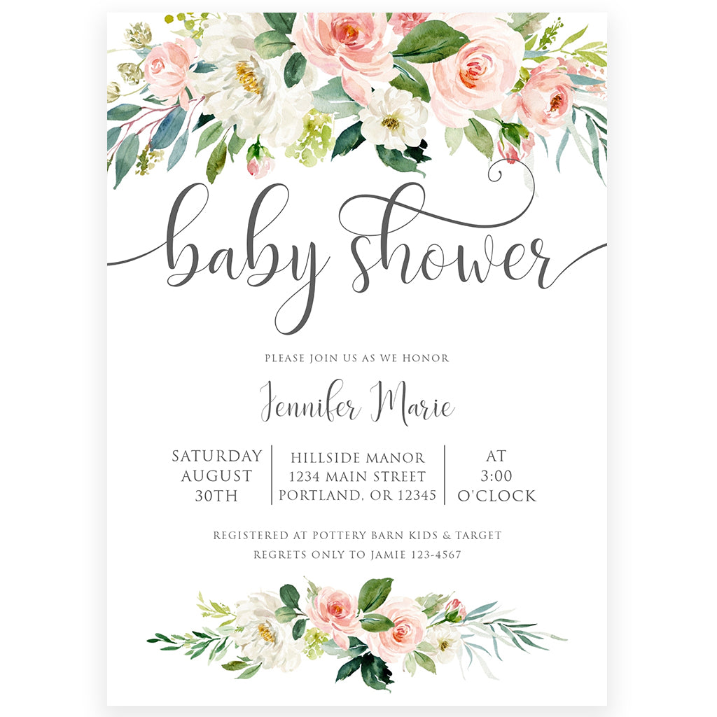 Blush Pink Baby Shower Invitation | www.foreveryourprints.com