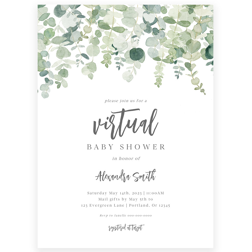 Virtual Greenery Baby Shower Invitation | www.foreveryourprints.com