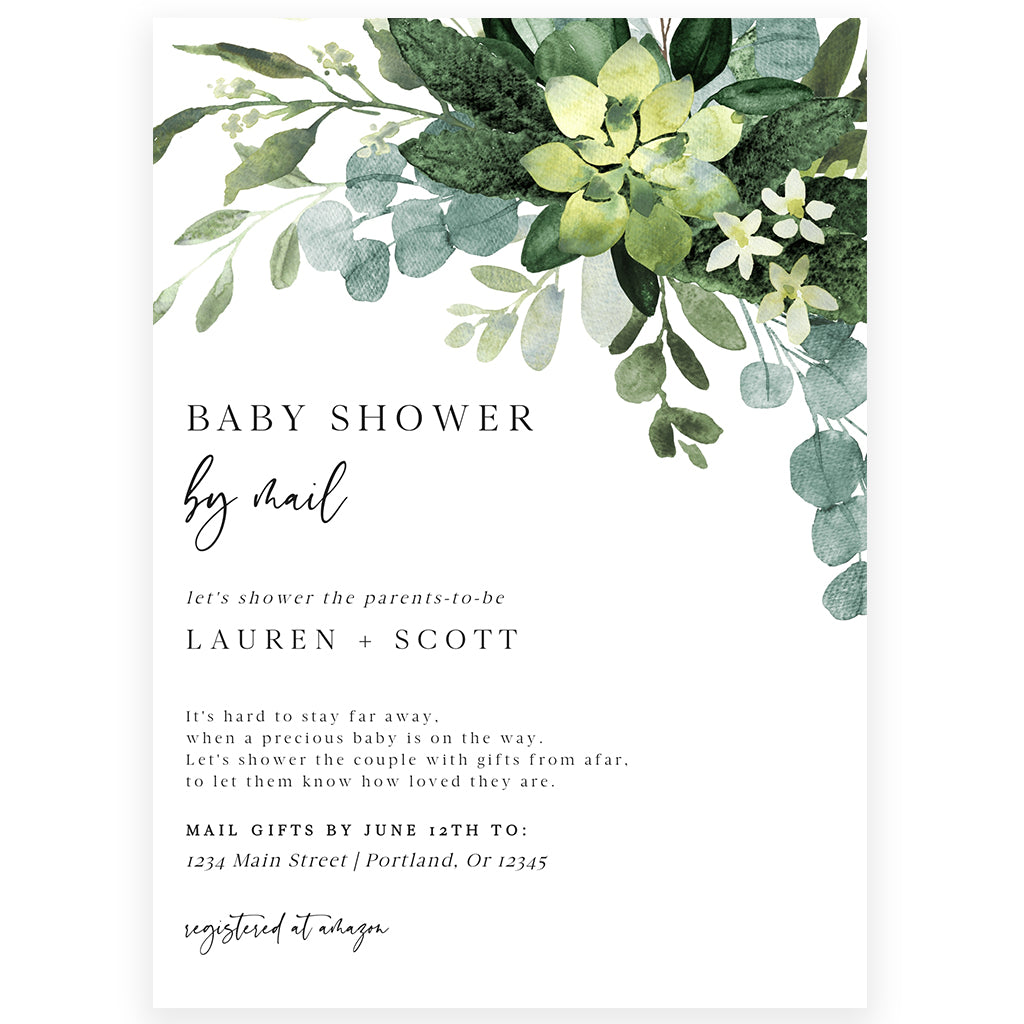 Greenery Shower by Mail Invitation | www.foreveryourprints.com