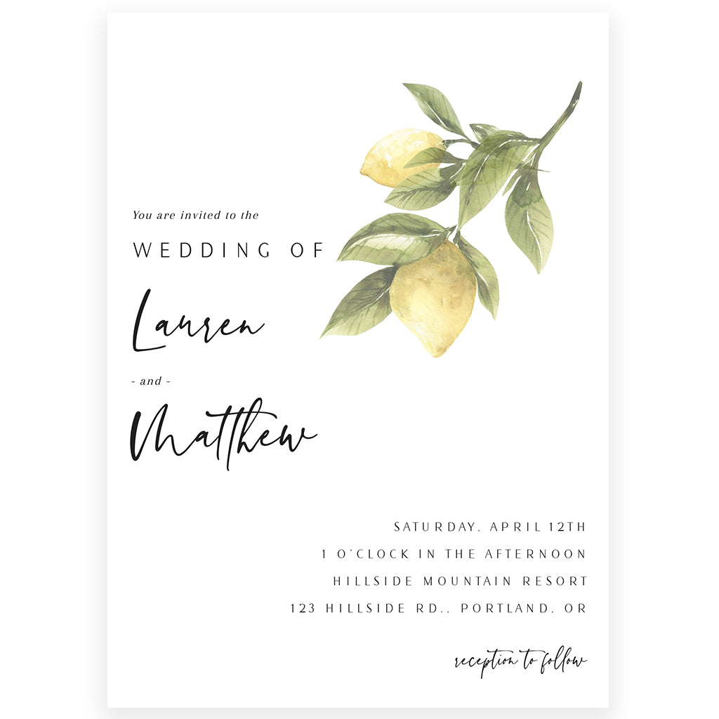 Lemon Wedding Invitation | www.foreveryourprints.com
