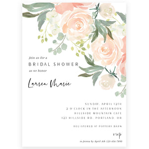 Peach Florals Bridal Shower Invitation | www.foreveryourprints.com