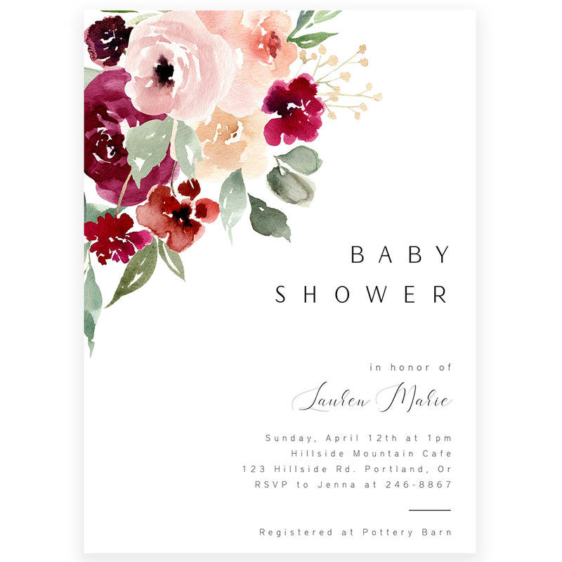 Floral Baby Shower Invitation | www.foreveryourprints.com
