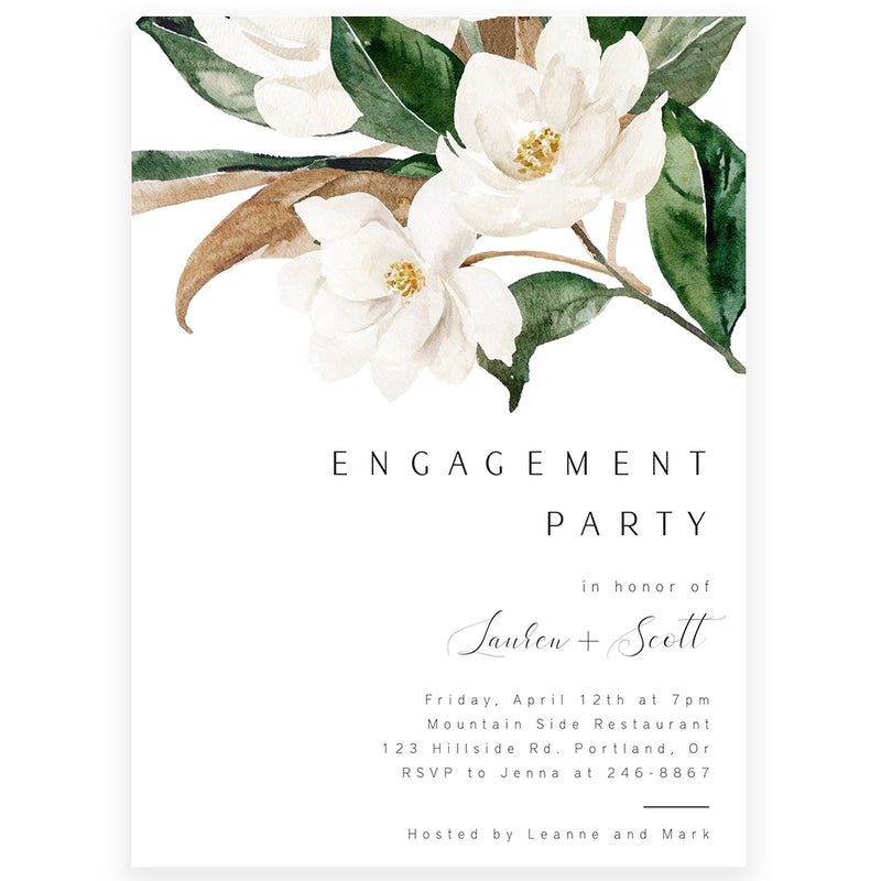 Magnolia Engagement Party Invitation | www.foreveryourprints.com