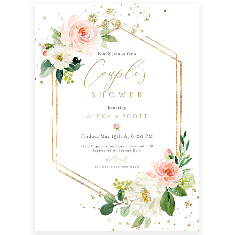 Couples Floral Shower Invitation | www.foreveryourprints.com