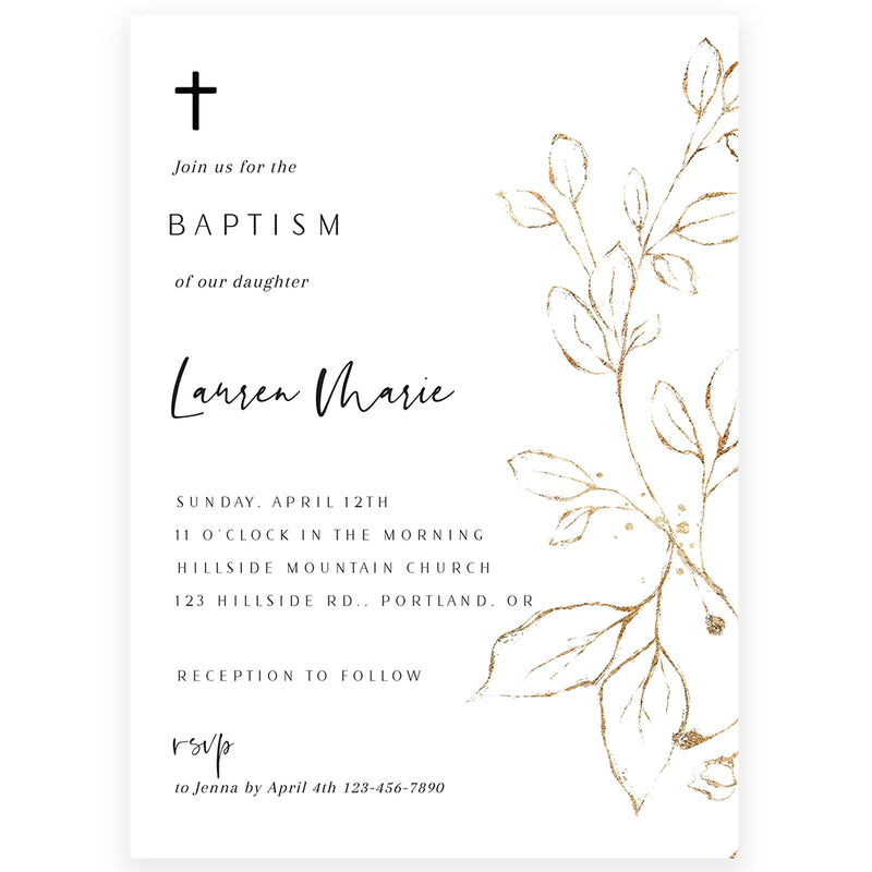 Golden Leaf Baptism Invitation | www.foreveryourprints.com