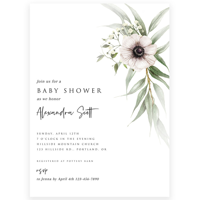Floral Anemone Baby Shower Invitation | www.foreveryourprints.com