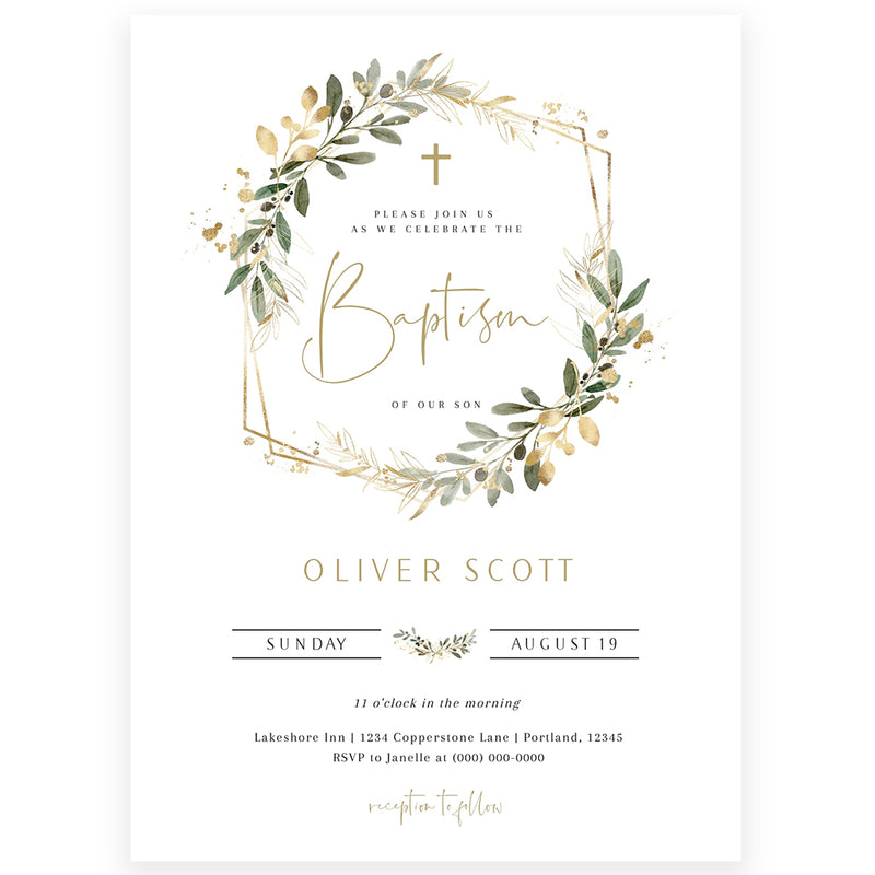Greenery with Gold Baptism Invitation | www.foreveryourprints.com