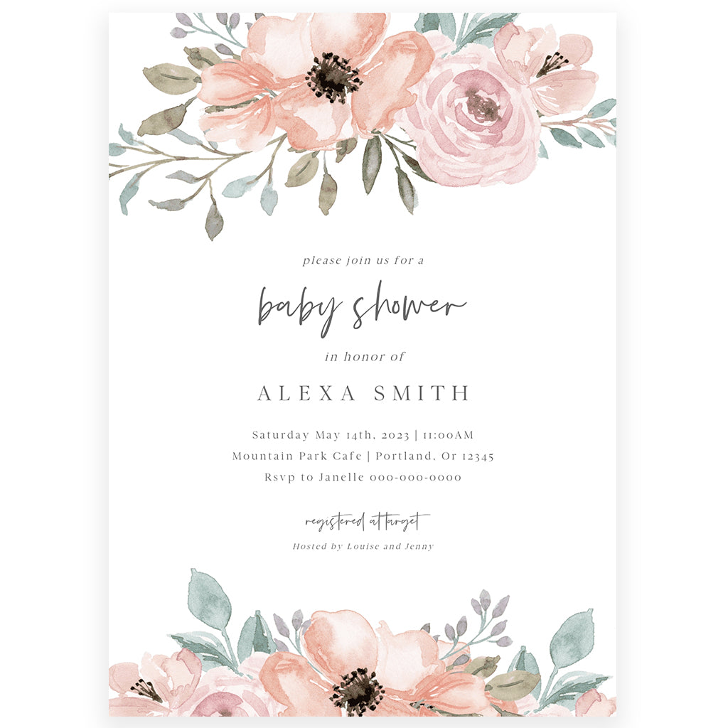 Floral Girl Baby Shower Invitation | www.foreveryourprints.com