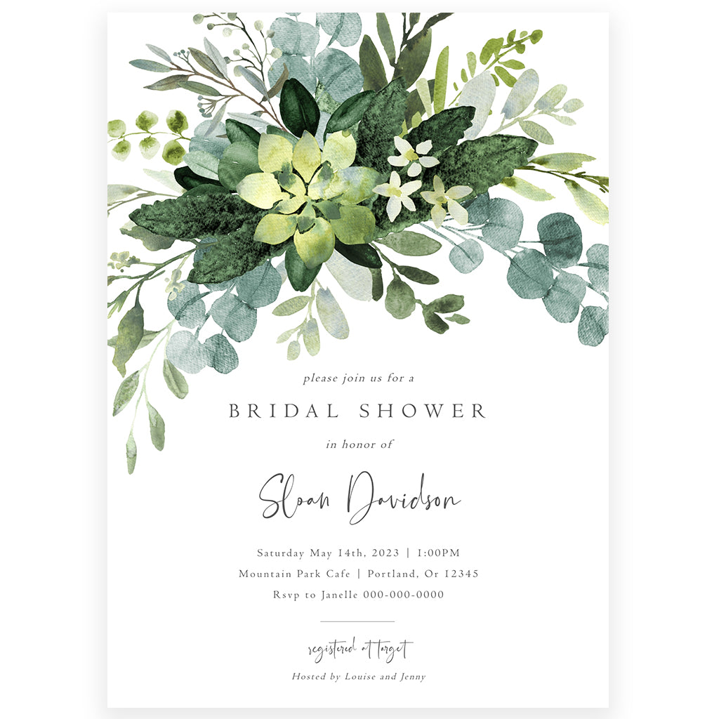 Eucalyptus Greenery Bridal Shower Invitation | www.foreveryourprints.com