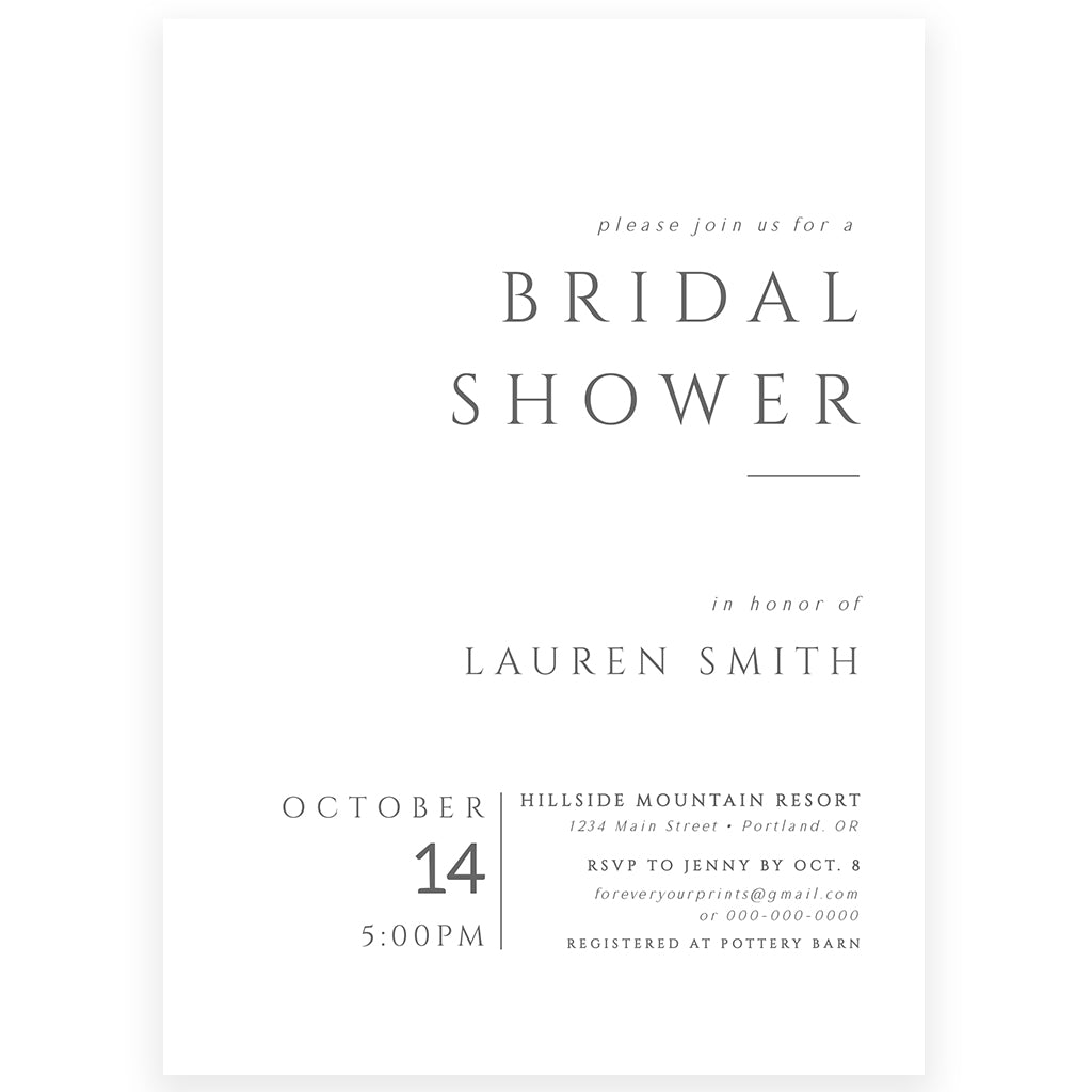 Minimalist Bridal Shower Invitation | www.foreveryourprints.com