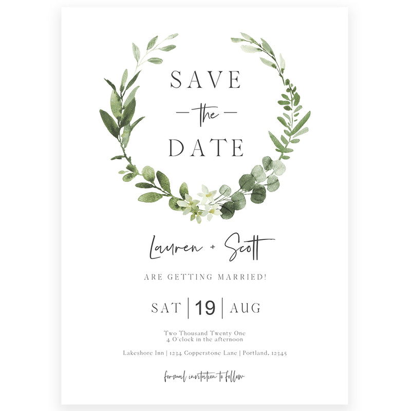 Eucalyptus Save The Date Invitation | www.foreveryourprints.com