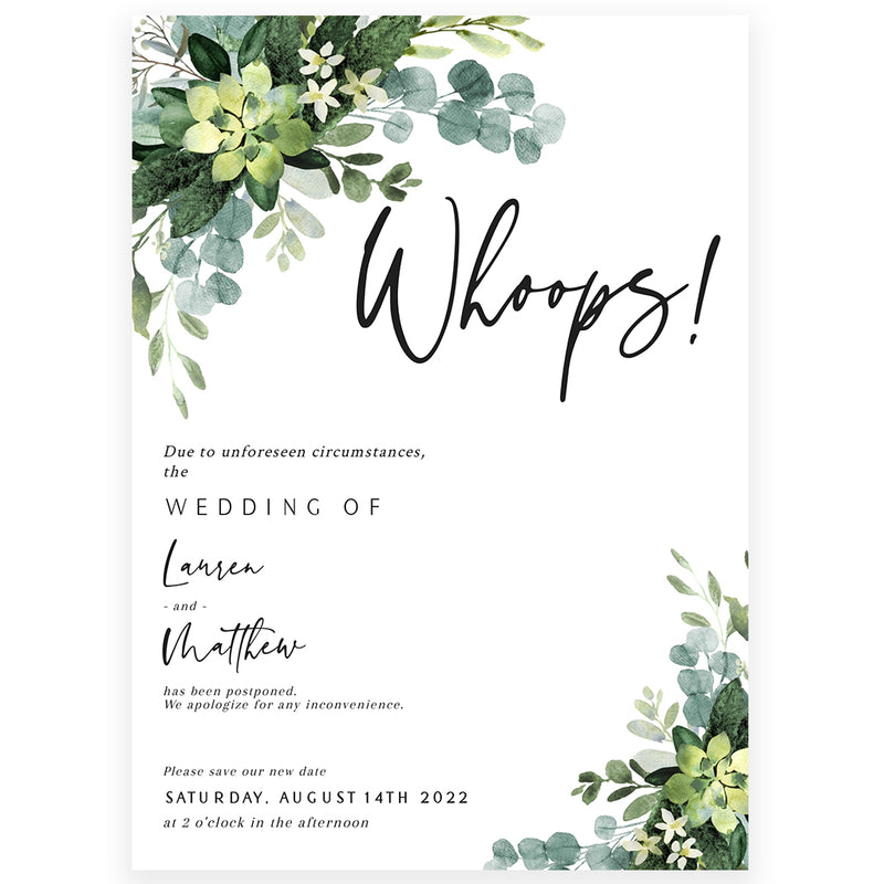 Eucalyptus Wedding Postponement Announcement | www.foreveryourprints.com