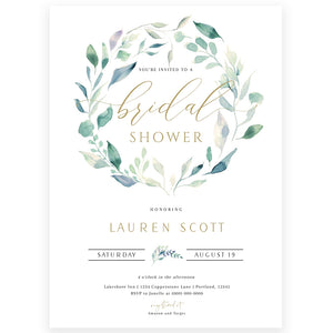 Floral Greenery Bridal Shower Invitation | www.foreveryourprints.com