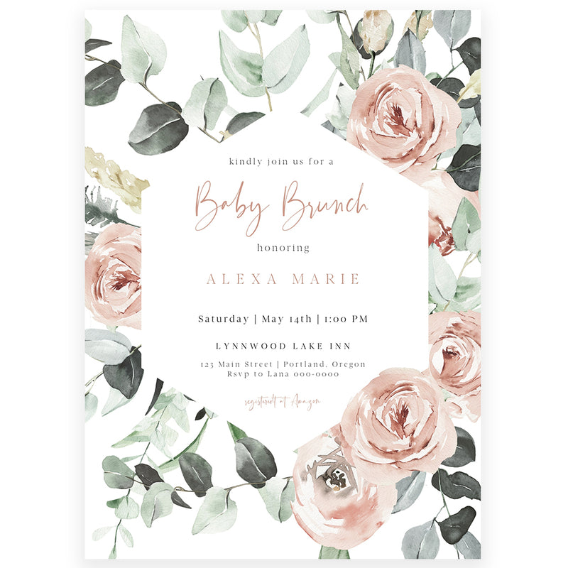 Floral Baby Brunch Invitation | www.foreveryourprints.com