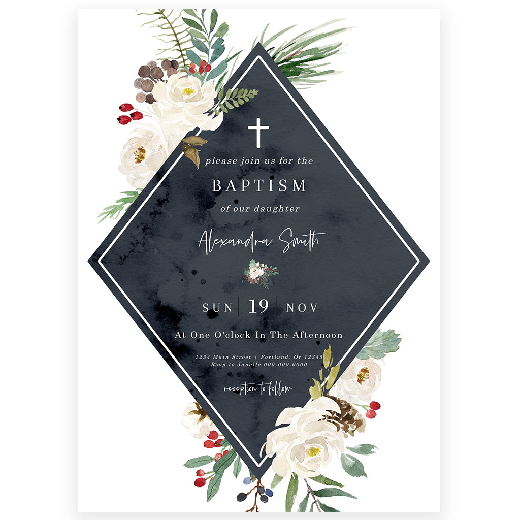 Winter Florals Baptism Invitation | www.foreveryourprints.com