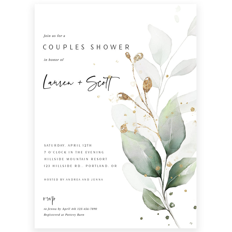 Couples Eucalyptus Shower Invitation | www.foreveryourprints.com