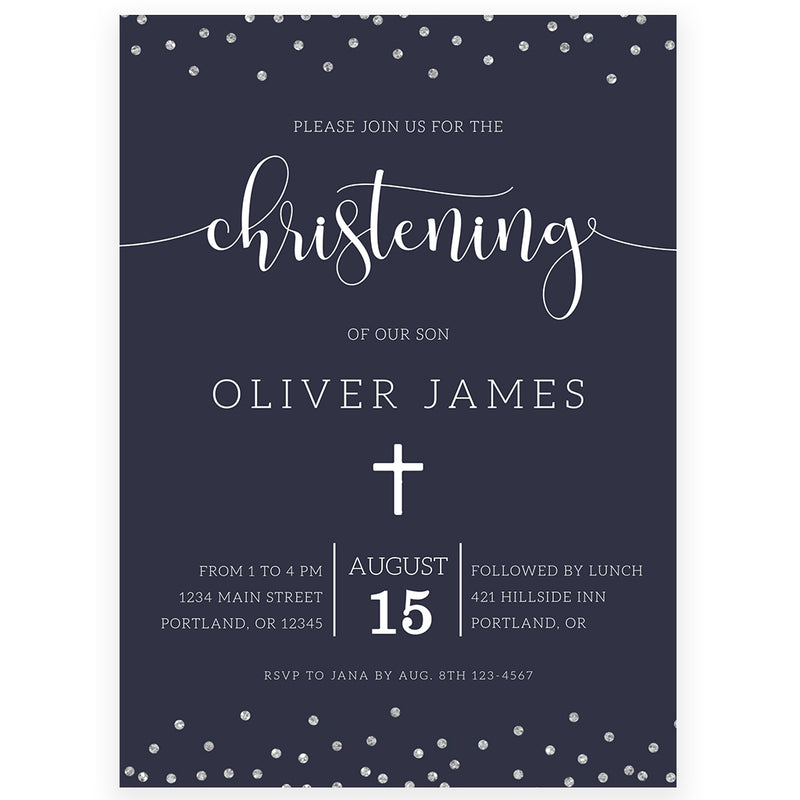 Navy Christening Invitation | www.foreveryourprints.com
